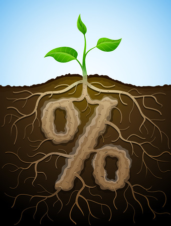Percent sign like root of plant. Concept of germination roots and tuber in shape of percentage symbol. Qualitative vector illustration for banking, financial industry, sale, discount, calculation, etc
