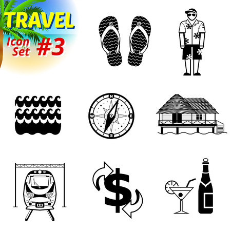 wave tourist: Set of black-and-white travel icons. Vector collection of symbols for tourism and vacation. Qualitative vector signs about travel, hotel, tourism, vacation, trip, booking, etc