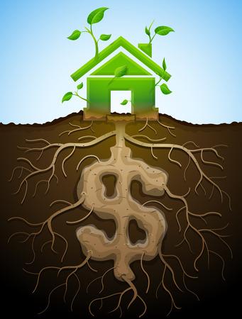 Creciendo muestra de la casa como la planta con hojas y en dólares como root. Inicio y dinero símbolo en forma de partes de la planta. Ilustración vectorial cualitativa para la hipoteca, la construcción verde, bienes raíces, inversión, construcción, sostenibilidad, etc Ilustración de vector