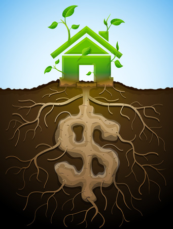 increment: Growing house sign like plant with leaves and dollar like root. Home and money symbol in shape of plant parts. Qualitative vector illustration for mortgage, green building, real estate, investment, construction, sustainability, etc