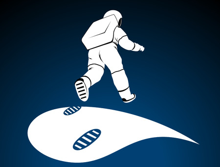 Bouncing astronaut over surface of planet. Moving spaceman and his footprints. Qualitative vector illustration for space technology, cosmos, exploration, cosmonautics, science, etc