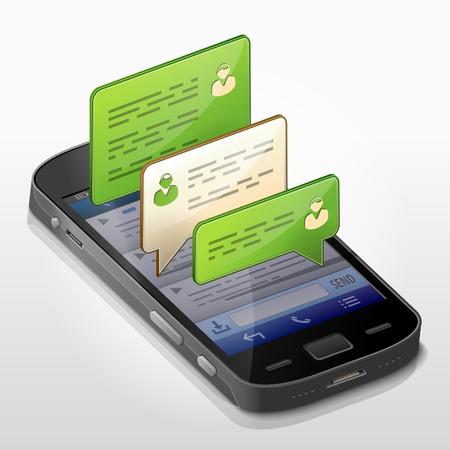 대화의 메시지 거품 스마트 폰. 대화 상자는 전화의 화면 위에 팝업. 스마트 폰, 채팅, 모바일 기술, 대화, 문자 메시지 등에 대한 질적 벡터 일러스트