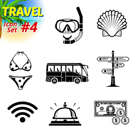 Set of black-and-white travel icons Vector