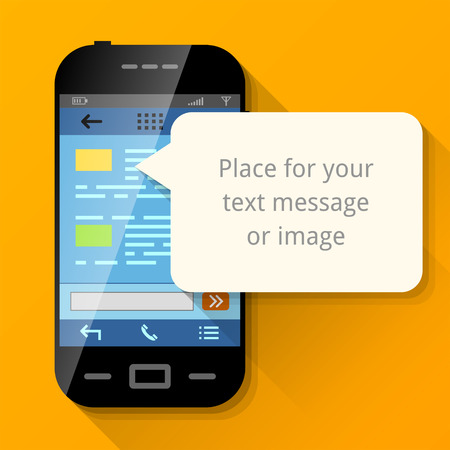 zellen: Smartphone mit leeren Sprechblase. Dialogfeld Pop-up �ber Bildschirm des Telefons. Qualitative Vektor-Illustration �ber Smartphone, Kommunikation, mobile Technologien, Benachrichtigung, Anwendung aufgefordert, etc.