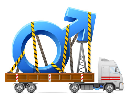 Road transportation of male symbol. Big man sign in back of truck. Qualitative vector illustration about man biology and health, male psychology (father, son), sex differences, gender role, etc