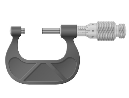 Micrometer isolated on white. Tool to measure distance with high accuracy. Qualitative vector illustration for engineering, measuring instrument, technology, craft, development, etc