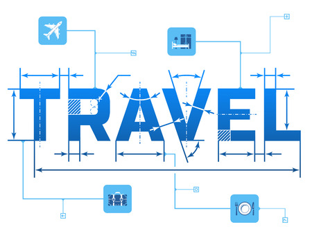 qualitative: Word TRAVEL with dimension lines. Element of blueprint drawing in shape of travel. Qualitative vector illustration about travel, tourism, vacation, trip, booking, etc