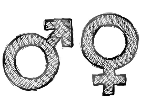 man and woman sex: Hand drawn gender symbols with light hatching. Sketch of man and woman signs in doodle style. Qualitative vector illustration about man, woman, sex differences, relationship, gender role, sexual orientation, etc