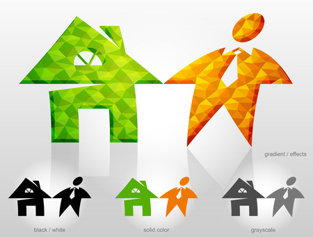renter: Combination of symbols home and man. House sign and person sign are holding hands. Qualitative vector illustration about architecture, building, real estate, construction, development, renovation, housing, etc Illustration