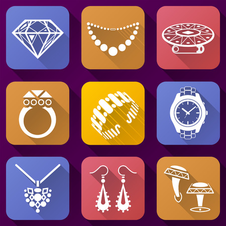 Flat icons set of jewelry elements. Collection of color icons for luxury industry. Qualitative vector symbols about jewellery, accessories, fashion, luxury, precious metal wares, etc Stock Illustratie