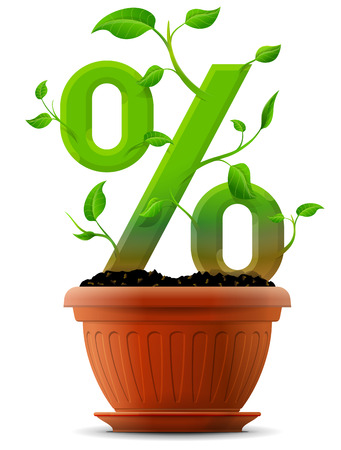 Growing percentage symbol as plant with leaves in flower pot. Stylized plant in shape of percent sign in ground. Qualitative vector illustration for banking, financial industry, sale, discount, calculation, etc