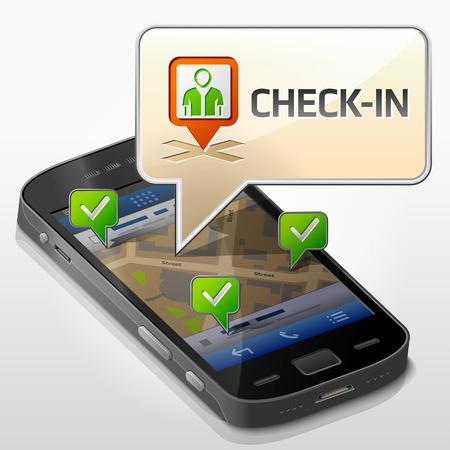 pop up: Smartphone met tekstballon over check-in. Dialoogvenster pop-up op het scherm van de telefoon. Kwalitatieve vector illustratie over smartphone, check-in, mobiele technologie, sociale netwerken, GPS-locatie, etc