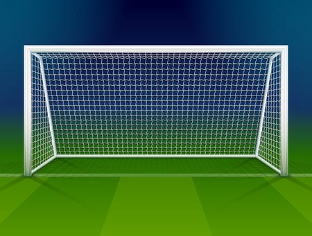 futbol soccer: Poste de la portería de fútbol con la red. Asociación portería de fútbol en el campo. Ilustración vectorial cualitativa de fútbol, ??juego de deporte, campeonato, juego, etc.