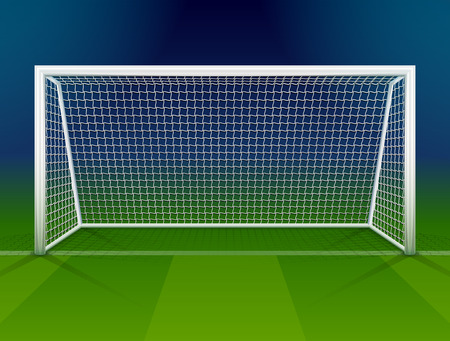 soccer game: Soccer goalpost with net. Association football goal on field. Qualitative vector illustration for soccer, sport game, championship, gameplay, etc