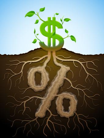 raíz de planta: Creciendo signo dólar como planta con hojas y el signo de porcentaje como root. Concepto financiero con dinero y símbolo de porcentaje. Ilustración vectorial cualitativa para la banca, la industria financiera, economía, contabilidad, etc. Vectores