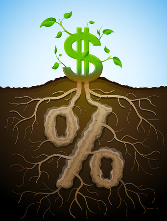 Growing dollar sign as plant with leaves and percent sign as root. Financial concept with money symbol and percentage. Qualitative vector illustration for banking, financial industry, economy, accounting, etc