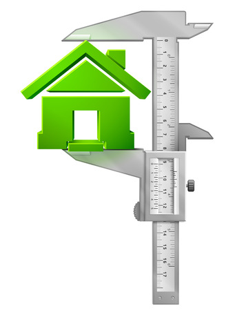 caliper: Vertical caliper measures house symbol. Concept of home sign and measuring tool. Qualitative vector illustration about architecture, building, real estate, construction, development, housing, etc Illustration