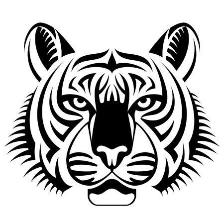 Realistic tiger face looks ahead. Black and white tattoo of tiger head, front view. Qualitative vector illustration for circus, sports mascot, zoo, wildlife, nature, etc Illustration