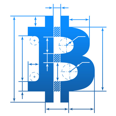 dimensions: Bitcoin symbol with dimension lines. Element of blueprint drawing in shape of money sign. Qualitative vector illustration for banking, financial industry, cryptocurrency, economy, accounting, etc