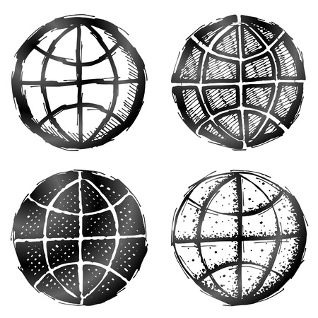 globe terrestre dessin: Tiré par la main symbole du globe. Croquis de signe de terre dans le style de griffonnage. Qualitatives graphiques vectoriels pour Voyage, la géographie, le tourisme, la carte du monde, voyage, cartographie, etc.