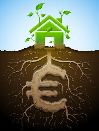 bioedilizia: Crescere casa segno come pianta con foglie e dell'euro come root. Casa e denaro simbolo a forma di parti di piante. Illustrazione vettoriale qualitativa per mutuo, bioedilizia, immobiliare, gli investimenti, la costruzione, la sostenibilit�, ecc Vettoriali