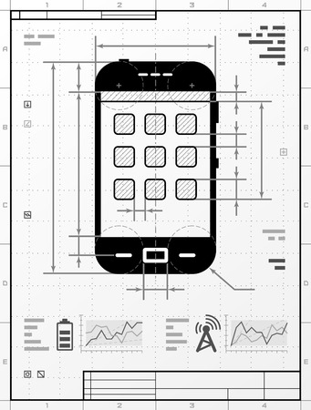 technical: Smartphone as technical drawing. Stylized drafting of phone with title block. Qualitative vector illustration about smartphone, touchscreen devices, telecommunication industry, mobile technology, digital electronics, etc