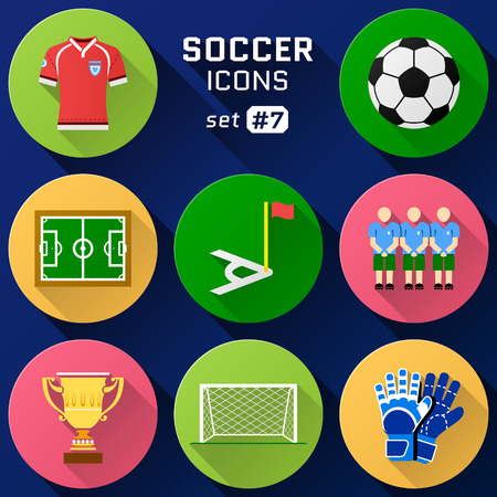 association: Color flat icon set of soccer elements. Pack of symbols for association football. Qualitative vector icons about soccer, sport game, championship, gameplay, etc