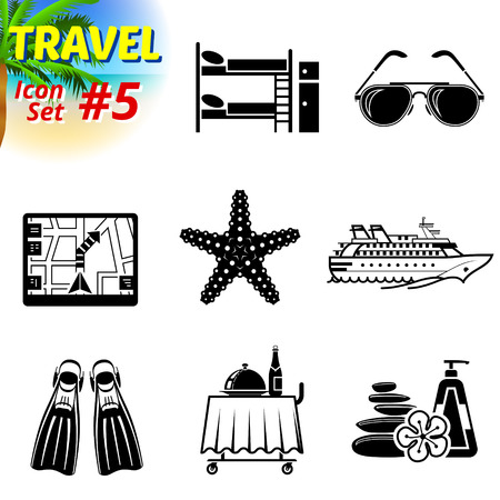 bunk bed: Set of black-and-white travel icons. Vector collection of symbols for tourism and vacation. Qualitative vector signs about travel, hotel, tourism, vacation, trip, booking, etc