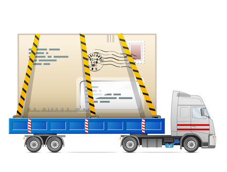 cartage: Road transportation of mail. Delivery of big envelope in back of truck. Qualitative vector illustration about postal service, messenger, mail delivery, courier company, express, etc