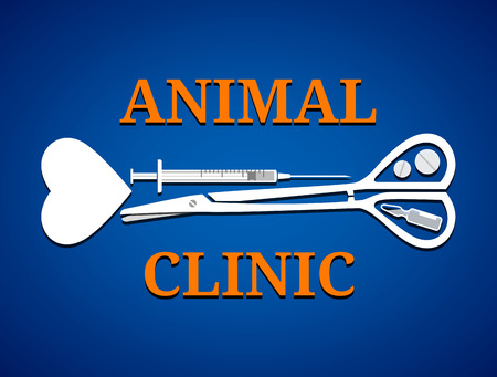 veterinary medicine: Graphic symbol for animal clinic. Medical tools in shape of dog bone. Qualitative vector icon (symbol, sign, emblem) for veterinary medicine, animal clinic, pet hospital, etc