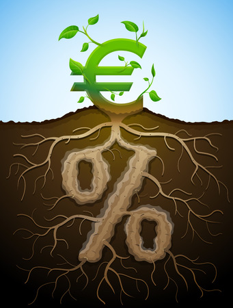 Growing euro sign as plant with leaves and percent sign as root. Financial concept with money symbol and percentage. Qualitative vector illustration for banking, financial industry, economy, accounting, etc Illustration