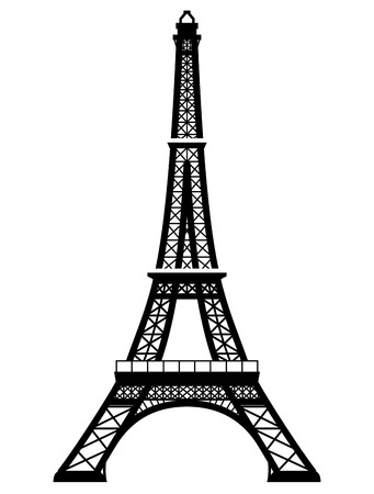 French Eiffel Tower in black-and-white color. Silhouette of Paris landmark. Qualitative vector illustration for travel, france, vacation, sightseeing, paris, tour, etc