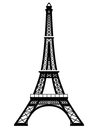 Francés de la torre Eiffel en el color blanco y negro. Silueta de París hito. Ilustración vectorial cualitativa para el viaje, francia, vacaciones, turismo, parís, viaje, etc.