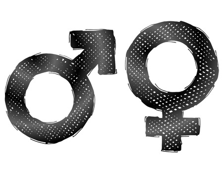 man and woman sex: Hand drawn gender symbols with dark hatching. Sketch of man and woman signs in doodle style. Qualitative vector illustration about man, woman, sex differences, relationship, gender role, sexual orientation, etc