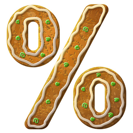 Gingerbread percent sign decorated colored icing. Holiday cookie in shape of percentage symbol. Qualitative vector illustration for banking, financial industry, sale, discount, calculation, etc
