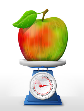 Apple fruit on scale pan. Weighing apple with leaf on scales. Qualitative vector illustration about apple, agriculture, fruits, cooking, gastronomy, etc