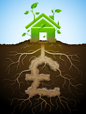 green building: Growing house sign as plant with leaves and pound as root. Home and money symbol in shape of plant parts. Qualitative vector illustration for mortgage, green building, real estate, investment, construction, sustainability, etc Illustration