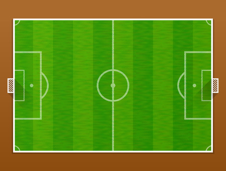 Top view of soccer pitch. Association football field with goalposts. Qualitative vector illustration for soccer, sport game, championship, gameplay, etc