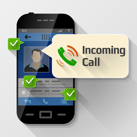 incoming: Smartphone with message bubble about incoming call.
