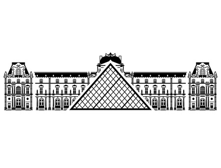 point of interest: French Louvre Museum in black-and-white color. Silhouette of Paris landmark. Qualitative vector illustration for travel, france, vacation, sightseeing, paris, tour, etc