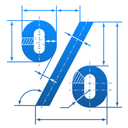 pct: Percent symbol with dimension lines. Element of blueprint drawing in shape of percentage sign. Qualitative vector illustration for banking, financial industry, sale, discount, calculation, etc