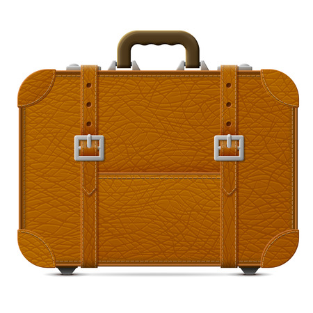 valise: Leather suitcase, front view. Brown travel bag with belts. Qualitative vector graphics for travel, luggage, tourism, accessory, vacation, baggage, trip, etc Illustration