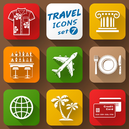 qualitative: Flat icons set of travel elements. Collection of color icons for tourism and vacation. Qualitative vector signs about travel, hotel, tourism, vacation, trip, booking, etc