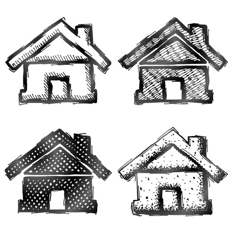 housing estate: Hand drawn home symbol. Sketch of house in doodle style. Qualitative vector illustration about architecture, building, real estate, construction, development, housing, etc Illustration