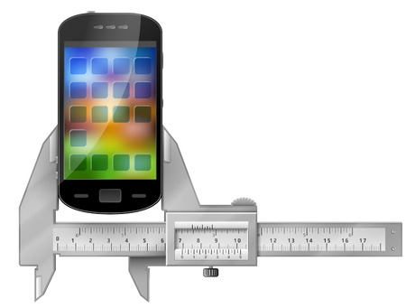 vernier: Caliper measures smartphone. Concept of phone and measuring tool. Qualitative vector illustration about smartphone communication mobile technology digital devices phone development etc Illustration