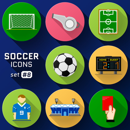 Color flat icon set of soccer elements. Pack of symbols for association football. Qualitative vector icons about soccer, sport game, championship, gameplay, etc
