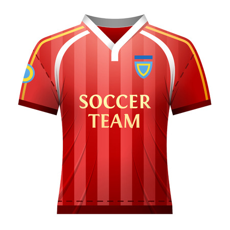 strip shirt: Soccer t-shirt for player. Part of association football uniform. Qualitative vector illustration for soccer, sport game, championship, gameplay, etc