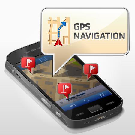 GPS 네비게이션에 대한 메시지 거품 스마트 폰입니다. 대화 상자가 휴대 전화의 화면 위에 팝업. 스마트 폰 내비게이션 모바일 기술에 대한 질적 벡터  일러스트