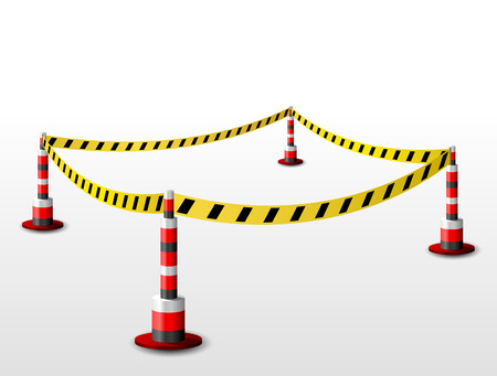 barrier tape: Empty fenced restricted area. Zone with barrier tape and bollards. Qualitative vector illustration for security protection enclosure etc