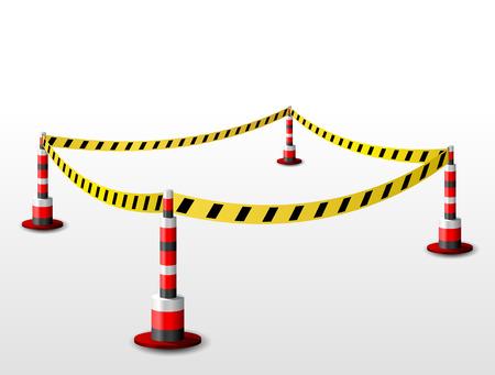 area restringida: Vaciar vallada zona restringida. Zona con cinta de barrera y bolardos. Ilustraci�n vectorial cualitativa para cerramiento de protecci�n de seguridad, etc.